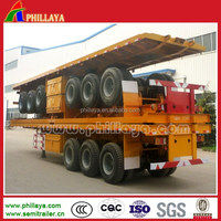 PHILLAYA 3 axles 40ft tri axle 40t 50tons flatbed container truck trailer with mechanical& air suspension
