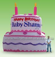 Hot sale giant inflatable birthday cake model for advertising C3004