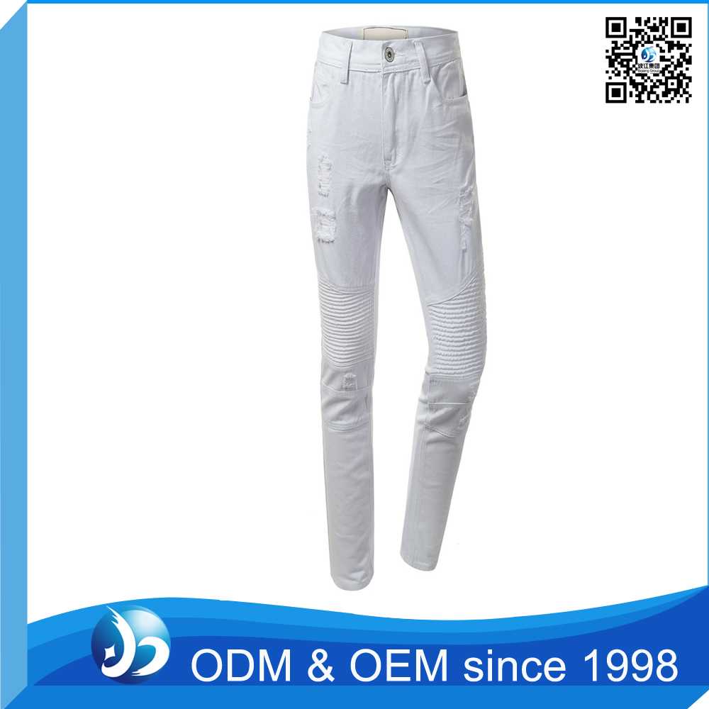 Customized 93 Cotton 7 Spandex Pants,White Double Zipper Biker Pants