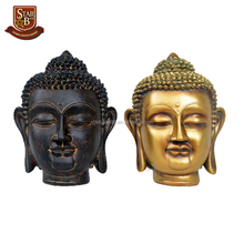 Factory custom made large resin crafts gold buddha head statue