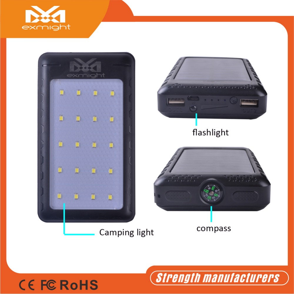 Waterproof solar charger,solar mobile charger,solar power bank with real capacity cheap price