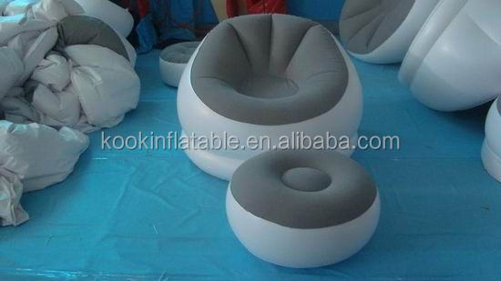 flocked inflatable lounger lazy sofa with foot rest inflatable furniture