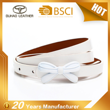Fashion Model Narrow White Bowknot Ladies Belt For Dresses