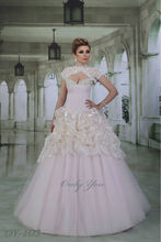 Excellent quality Pink Champagne wedding dress Boat V neckline Floor-Length Pearls and Rhinestones Lace Detachable Bolero