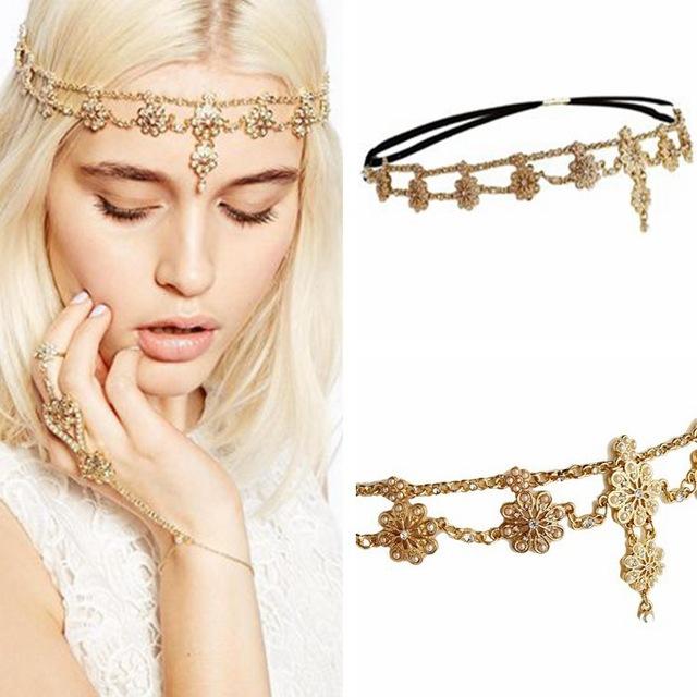 C74966A Wholesale hair accessories chain women flower head chain