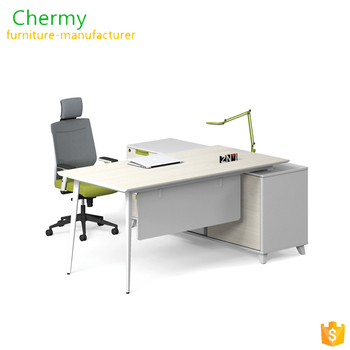 New luxury coffee color wood frame design Chermy office workstation and mesh chair Modular L Shaped Office Desk