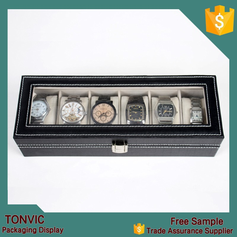 New Men Wrist Watch Display Storage Organizer Box Container 6 Cell Black Leather Glass Top Box for Storing Hours Jewelry