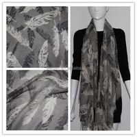 100% Polyester Feather Printed Long Scarf