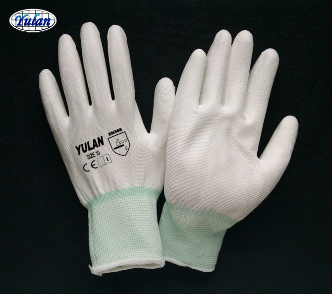 13 <strong>G</strong> anti slip polyester shell PU gloves