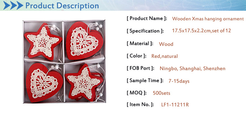 red star heart shape wooden with lace christmas hanging ornaments for christmas decoration set of 12