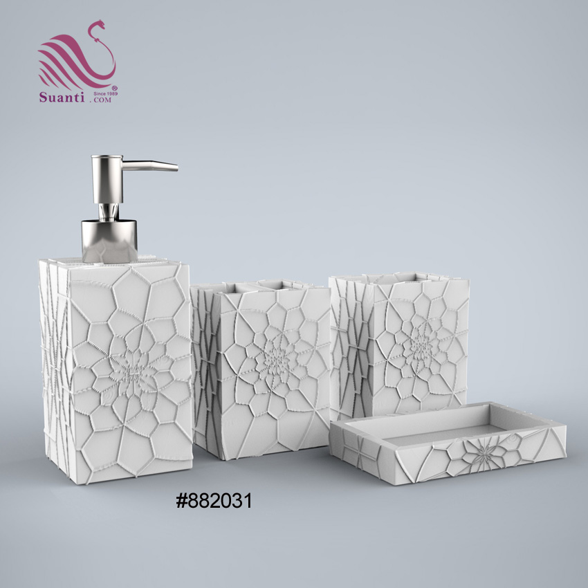 Factory Price Home Decor Sandstone Exquisite Carving Bathroom Accessories Bath Sets