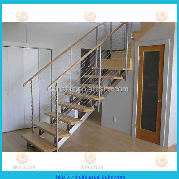 stainless steel stringer wood tread open riser stair