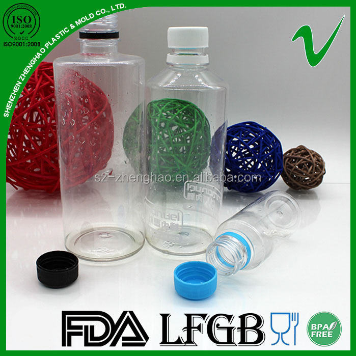 PET disposable clear round empty 420ml plastic cool drink bottle for beverage