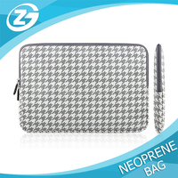 Custom size Laptop Sleeve Canvas Fabric Protective Carrying Sleeve Bag Skin Case Cover Shell Gray Houndstooth Laptop Case Bag