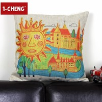 Creative Painting Design Printed Pillow Cover Body Pillow Chair Seat Cushion Children Room Sofa Decorative Pillow Case