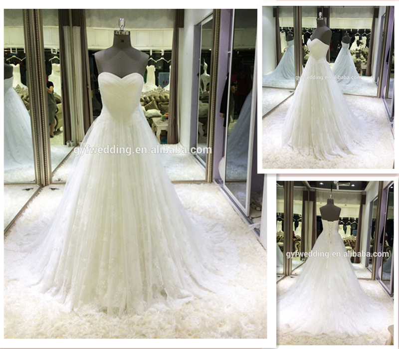 Real Picture Elegant Sweetheart Neckline Ruched Tulle Empire Pregnant Women Open Back Lace Wedding Dress with Train DW5