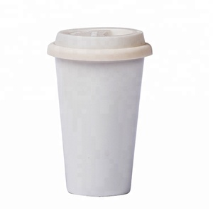 Reusable Double Wall Insulated White Ceramic Travel Coffee Cup with Lid & Sleeve 14 oz I Am Not a Paper Cup