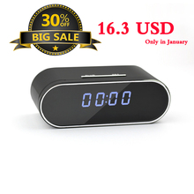 30% discount new year promotion hidden alarm clock IP mini spy camera clock h264 wifi