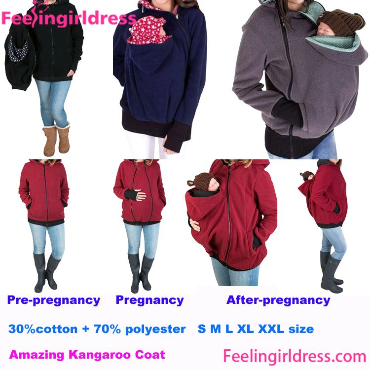 Cheap Multifunctional Front Zipper Maternity Tops Baby Carrier Hoodie