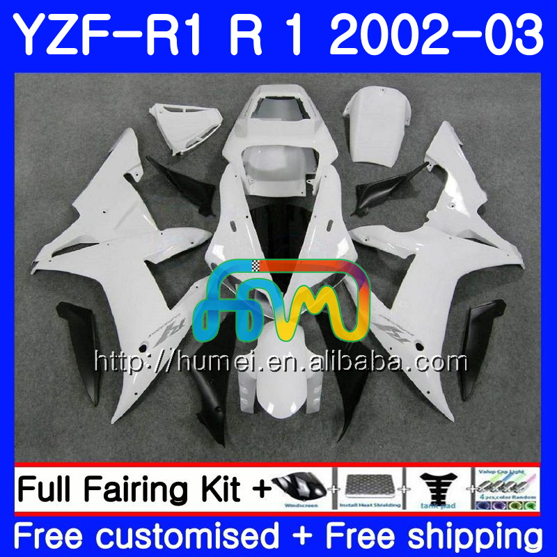 Body For YAMAHA white black YZF 1000 YZFR1 <strong>02</strong> <strong>03</strong> YZF-1000 Bodywork 99HM22 YZF R 1 YZF <strong>R1</strong> <strong>02</strong> <strong>03</strong> YZF1000 YZF-<strong>R1</strong> 2002 2003 <strong>Fairing</strong>