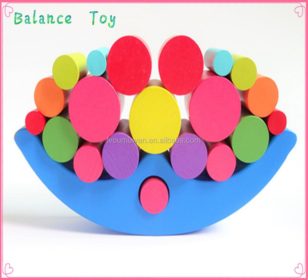 wooden educational balance stacking block toy game