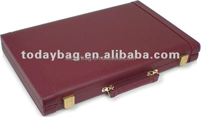 "Hot selling 18"" faux leather backgammon set customized backgammon case"