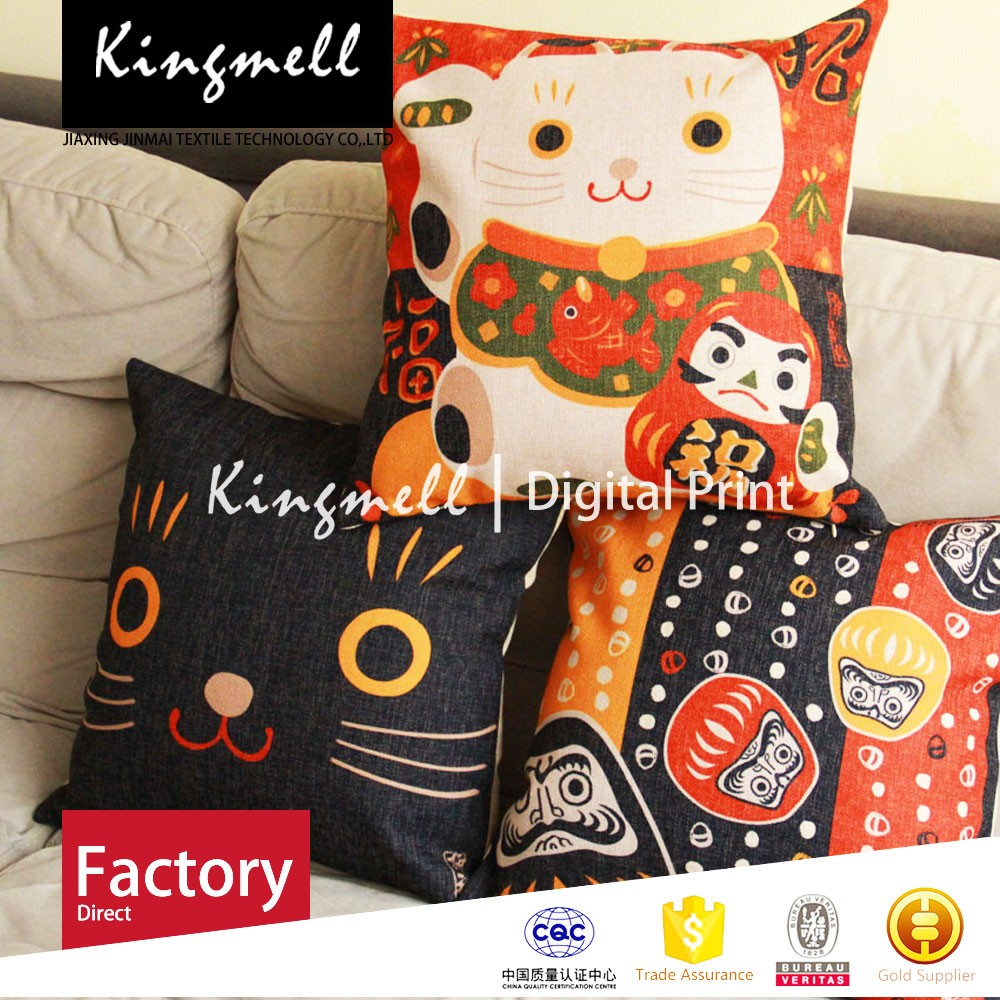 2015 fashion Lucky Cat car booster cushion red nap cotton cushion cover