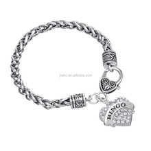 Heavy Bracelet with Heart Lobster Clasp bingo charms with rhinestones for Woman gift wheat 7mm bracelet