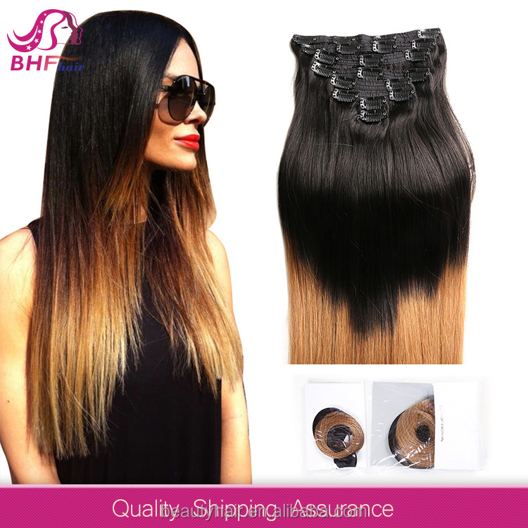 8 inch --30 inch 3 Piece Ombre Kinky Curly Peruvian Clip in Braided Extensions Hair