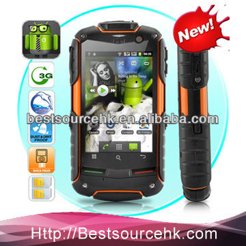 3.2 inch Dual camera Dual SIM 512MB+4GB Rugged Phones rugged Android 4.0 Phone Rock V5-cherry