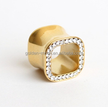 GOLD PLATED SQUARE SHAPE MULTI JEWELLED SCREW FIT FLESH / EAR TUNNEL ~ CLEAR GEM ~ ALL SIZE