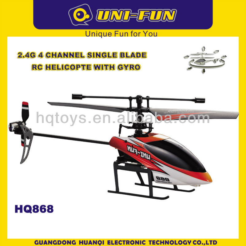 HQ868 Huanqi 4ch 2.4g single propeller rc helicopter with Mode 1 and Mode 2 in one transmitter 3.7V 400mAh Li-Po battery