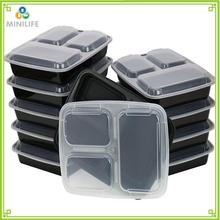 Disposable PP Plastic Section Food Containers,Bento Lunch Box with 3 Compartments