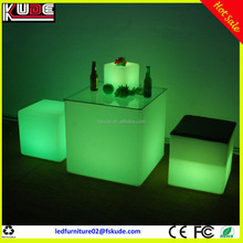 cheap price LED light plastic cube table for nightclub coffee