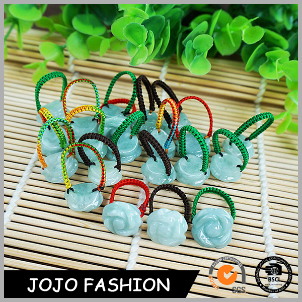 Latest multi color rope handmade woven gemstone jade finger ring