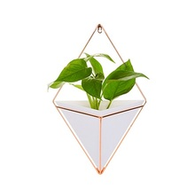 Custom Small Decorative Geometric Hanging Ceramic Planter/flower Pot for Indoor Wall Decor