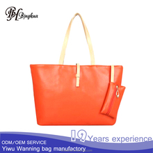 AL-039 Bottom price cheap PU Leather women candy color tote bag shopping bags