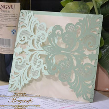 Vintage mint green lace laser cut wedding invitations