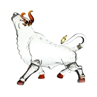 handmade borosilicate special animal cow shaped bull shaped art glass wine bottle