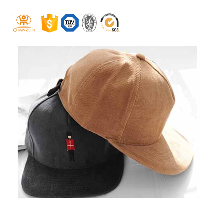 Custom leather strap flat brim nylon embroidery corduroy snapback hat