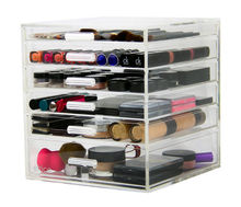 Acrylic Cosmetics Organizer Box with 5 Drawers Clear Acrylic Jewelry Chest with Lid and Drawers
