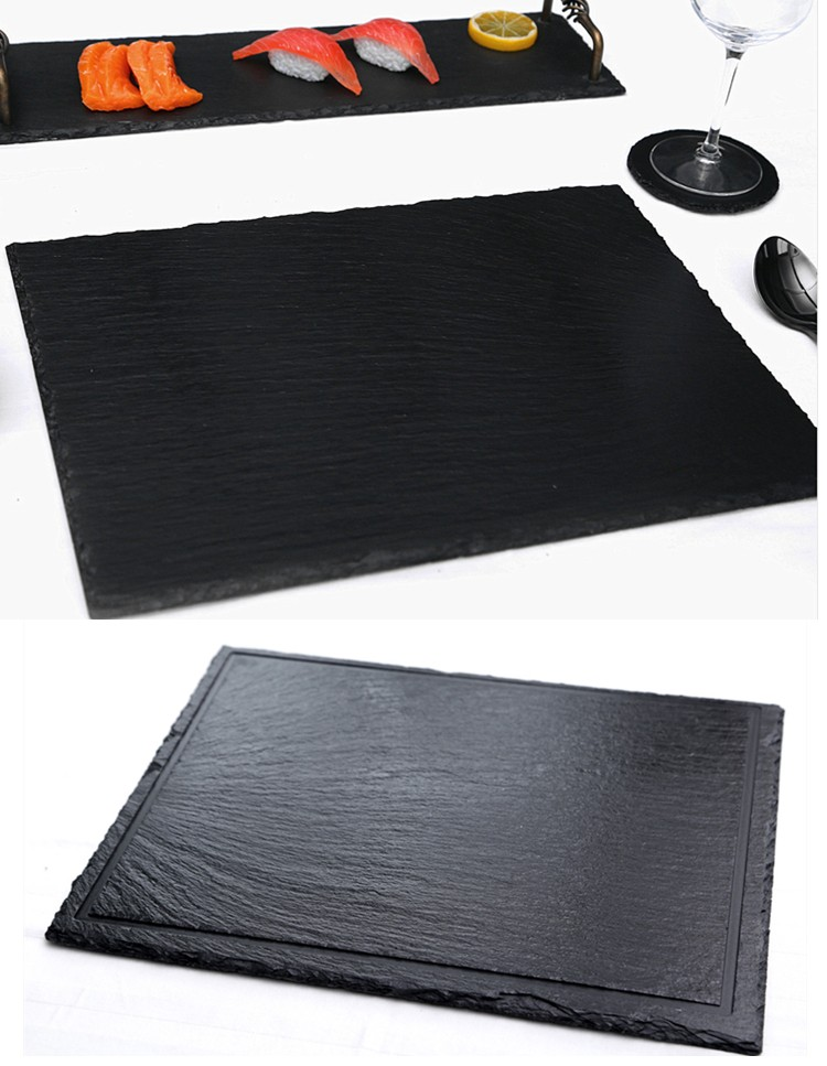 Eco-friendly black disposable slate serving plate