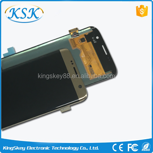 hot sell original lcd screen for Samsung galaxy S7 edge gold lcd screen replacement S7 edge lcd display