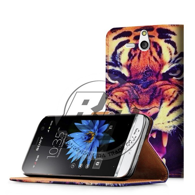 for sony xperia u st25i case cover, wallet printed pu leather flip case for sony xperia u st25i