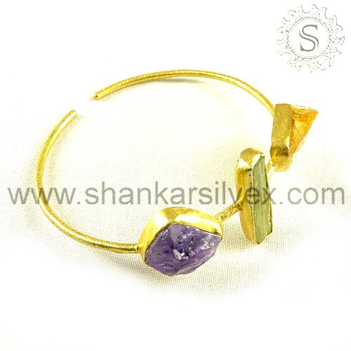 Significant Gold Plated 925 Sterling Silver Jewelry Multi Gemstone Bangle Wholesale Silver Jewelry Supplier