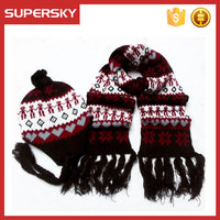 A-792 Nordic Crocheted Hat and scarf Winter Crocheted Braided Ties Beanie Scarf Set Knitted Cotton Earflap Hat Scarf Set