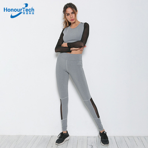 Summer Running Sets Sexy Women Sport Workout Outfit Joggers Long Sleeve Crop Top Legging Suits Sets