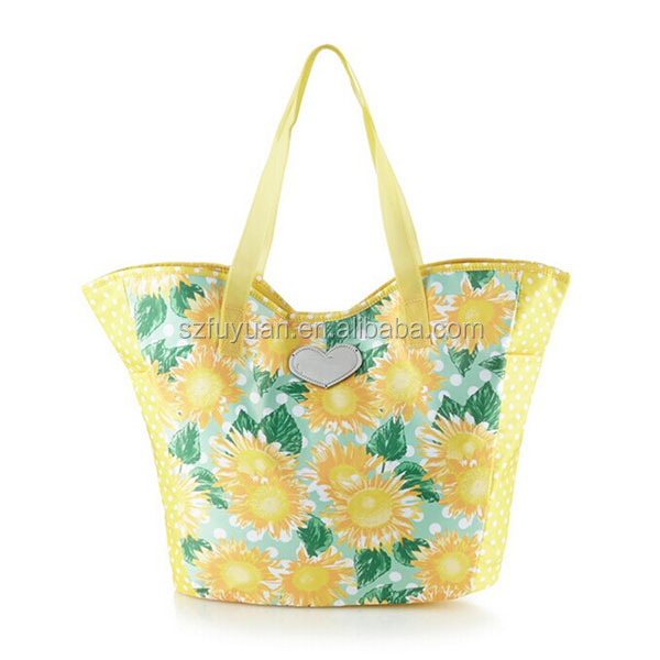 Floral print european style fancy cotton polyester shopping bag for women