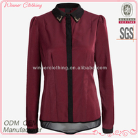 Ladies' fashion polyester long sleeves chiffon color combination open flying direct manufacturer sequence blouse designs