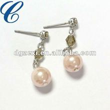 2012 Lastest Fashion Sweet Bridal Earrings-Pink Earrings With Pearl And Crystal